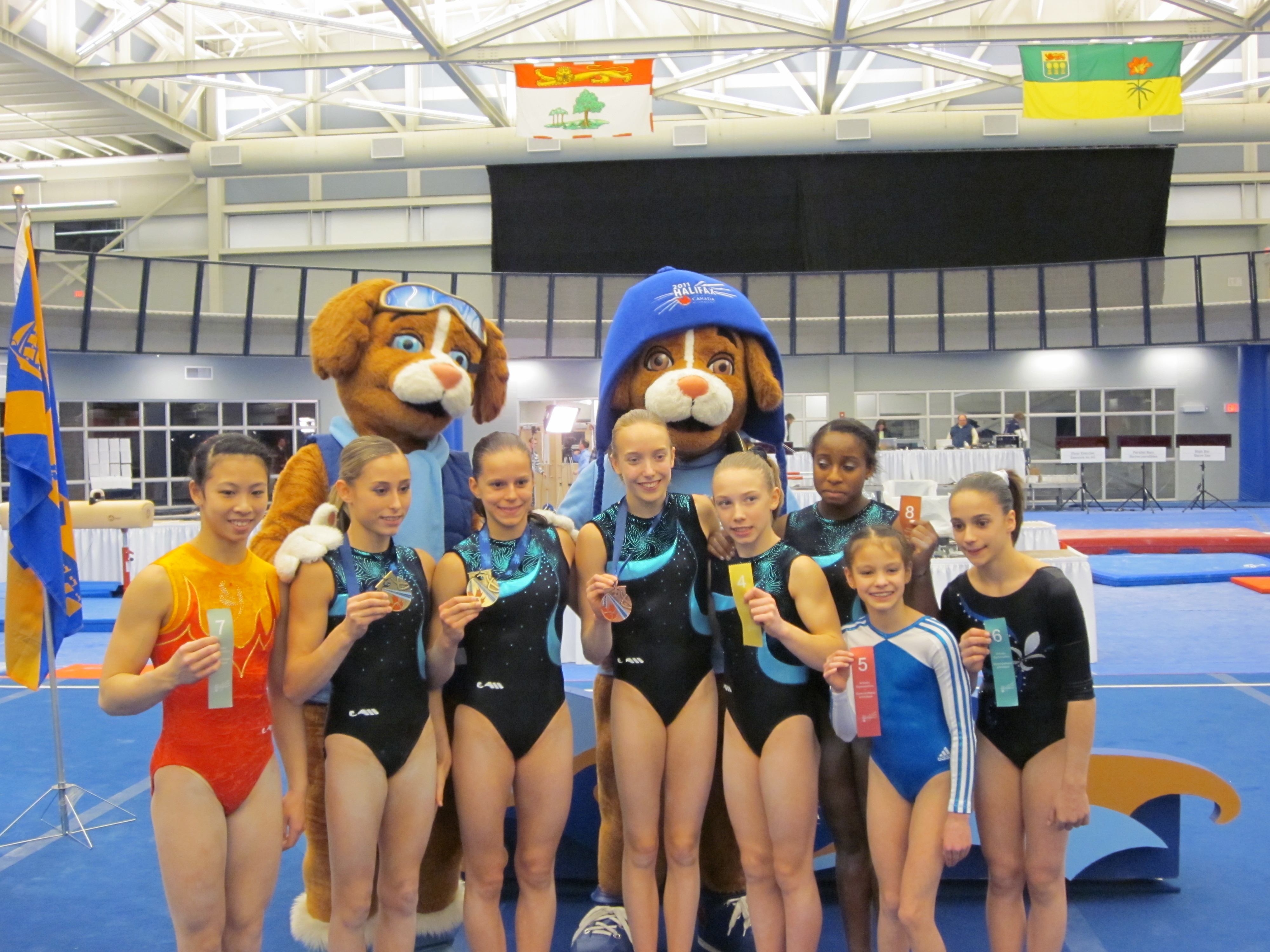 The top eight finishers in the women's individual all-around